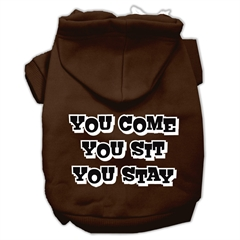 Mirage Pet Products You Come, You Sit, You Stay Screen Print Pet Hoodies Brown Size S (10)