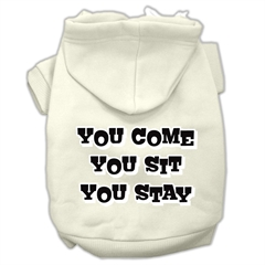Mirage Pet Products You Come, You Sit, You Stay Screen Print Pet Hoodies Cream Size XS (8)