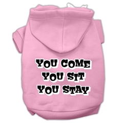 Mirage Pet Products You Come, You Sit, You Stay Screen Print Pet Hoodies Light Pink Size XXL (18)