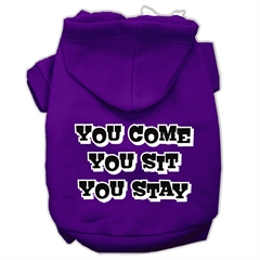Mirage Pet Products You Come, You Sit, You Stay Screen Print Pet Hoodies Purple Size L (14)