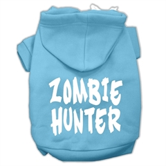 Mirage Pet Products Zombie Hunter Screen Print Pet Hoodies Baby Blue Size XXXL(20)
