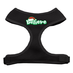 Mirage Pet Products Believe Screen Print Soft Mesh Harnesses  Black Medium
