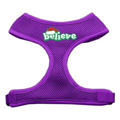 Mirage Pet Products Believe Screen Print Soft Mesh Harnesses  Purple Large