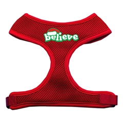Mirage Pet Products Believe Screen Print Soft Mesh Harnesses  Red Medium