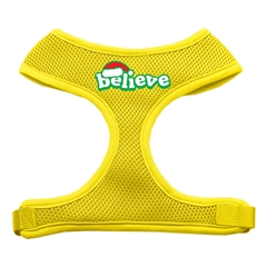 Mirage Pet Products Believe Screen Print Soft Mesh Harnesses  Yellow Small