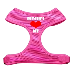 Mirage Pet Products Bitches Love Me Soft Mesh Harnesses Pink Medium