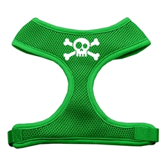Mirage Pet Products Skull Crossbones Screen Print Soft Mesh Harness Emerald Green Small