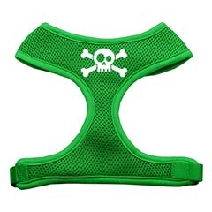 Mirage Pet Products Skull Crossbones Screen Print Soft Mesh Harness Emerald Green Large