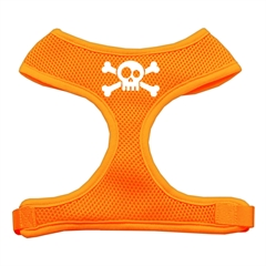 Mirage Pet Products Skull Crossbones Screen Print Soft Mesh Harness Orange Large