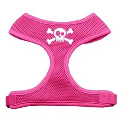 Mirage Pet Products Skull Crossbones Screen Print Soft Mesh Harness Pink Medium