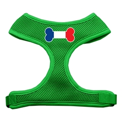 Mirage Pet Products Bone Flag France Screen Print Soft Mesh Harness Emerald Green Small