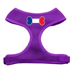 Mirage Pet Products Bone Flag France Screen Print Soft Mesh Harness Purple Large