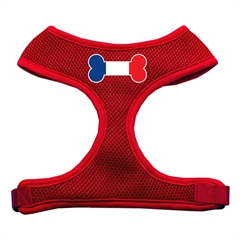 Mirage Pet Products Bone Flag France Screen Print Soft Mesh Harness Red Medium