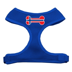 Mirage Pet Products Bone Flag Norway Screen Print Soft Mesh Harness Blue Small