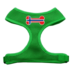 Mirage Pet Products Bone Flag Norway Screen Print Soft Mesh Harness Emerald Green Small