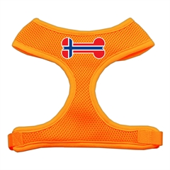 Mirage Pet Products Bone Flag Norway Screen Print Soft Mesh Harness Orange Medium
