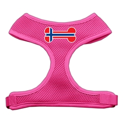 Mirage Pet Products Bone Flag Norway Screen Print Soft Mesh Harness Pink Large