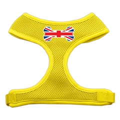Mirage Pet Products Bone Flag UK Screen Print Soft Mesh Harness Yellow Small