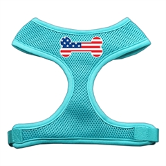 Mirage Pet Products Bone Flag USA Screen Print Soft Mesh Harness Aqua Medium