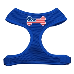 Mirage Pet Products Bone Flag USA Screen Print Soft Mesh Harness Blue Large