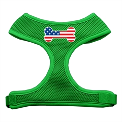 Mirage Pet Products Bone Flag USA Screen Print Soft Mesh Harness Emerald Green Large