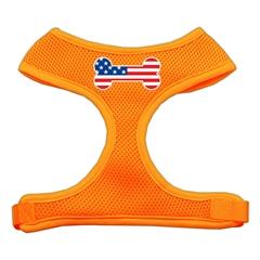 Mirage Pet Products Bone Flag USA Screen Print Soft Mesh Harness Orange Medium