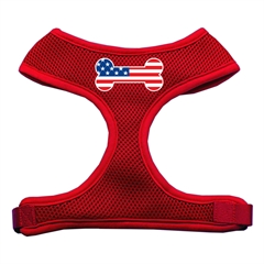 Mirage Pet Products Bone Flag USA Screen Print Soft Mesh Harness Red Small