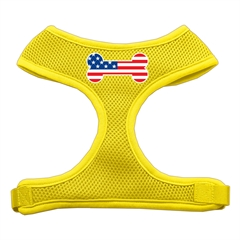 Mirage Pet Products Bone Flag USA Screen Print Soft Mesh Harness Yellow Small