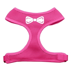 Mirage Pet Products Bow Tie Screen Print Soft Mesh Harness Pink Large