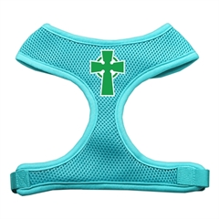 Mirage Pet Products Celtic Cross Screen Print Soft Mesh Harness Aqua Medium