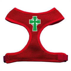 Mirage Pet Products Celtic Cross Screen Print Soft Mesh Harness Red Medium