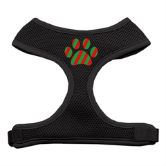 Mirage Pet Products Christmas Paw Screen Print Soft Mesh Harness Black Large