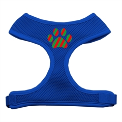 Mirage Pet Products Christmas Paw Screen Print Soft Mesh Harness Blue Extra Large