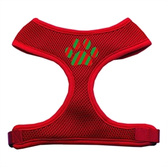 Mirage Pet Products Christmas Paw Screen Print Soft Mesh Harness Red Medium