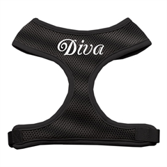 Mirage Pet Products Diva Design Soft Mesh Harnesses Black Medium