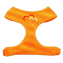 Mirage Pet Products Double Heart Design Soft Mesh Harnesses Orange Large