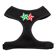 Mirage Pet Products Double Holiday Star Screen Print Mesh Harness Black Medium