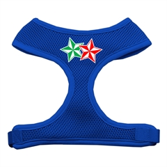 Mirage Pet Products Double Holiday Star Screen Print Mesh Harness Blue Medium