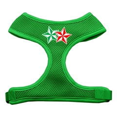 Mirage Pet Products Double Holiday Star Screen Print Mesh Harness Emerald Green Large