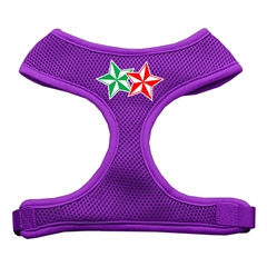 Mirage Pet Products Double Holiday Star Screen Print Mesh Harness Purple Large