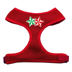 Mirage Pet Products Double Holiday Star Screen Print Mesh Harness Red Small