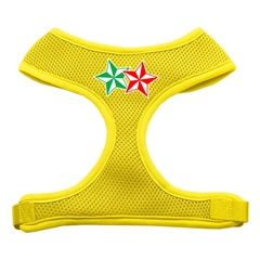 Mirage Pet Products Double Holiday Star Screen Print Mesh Harness Yellow Small