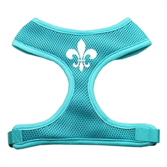Mirage Pet Products Fleur de Lis Design Soft Mesh Harnesses Aqua Extra Large