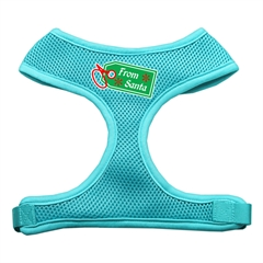 Mirage Pet Products From Santa Tag Screen Print Mesh Harness Aqua Medium