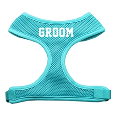 Mirage Pet Products Groom Screen Print Soft Mesh Harness Aqua Extra Large