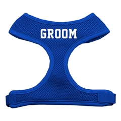 Mirage Pet Products Groom Screen Print Soft Mesh Harness Blue Large