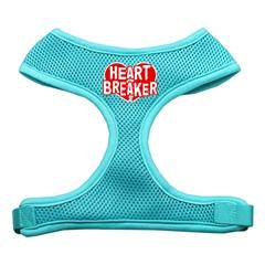 Mirage Pet Products Heart Breaker Soft Mesh Harnesses Aqua Medium