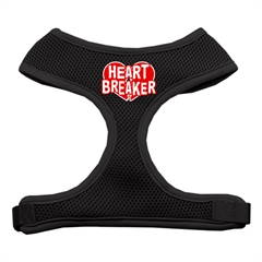 Mirage Pet Products Heart Breaker Soft Mesh Harnesses Black Small