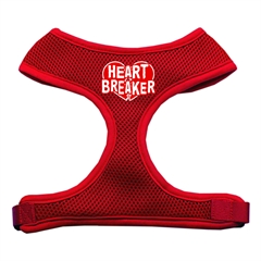 Mirage Pet Products Heart Breaker Soft Mesh Harnesses Red Medium