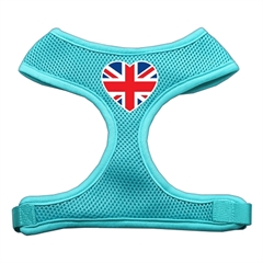 Mirage Pet Products Heart Flag UK Screen Print Soft Mesh Harness Aqua Medium